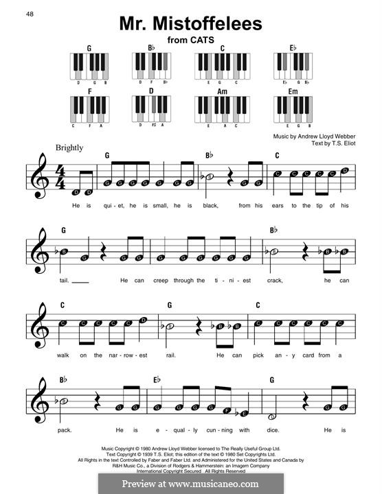 Mr. Mistoffelees (from Cats): For easy piano with lyrics by Andrew Lloyd Webber