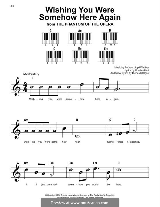 Wishing You Were Somehow Here Again: For easy piano with lyrics by Andrew Lloyd Webber
