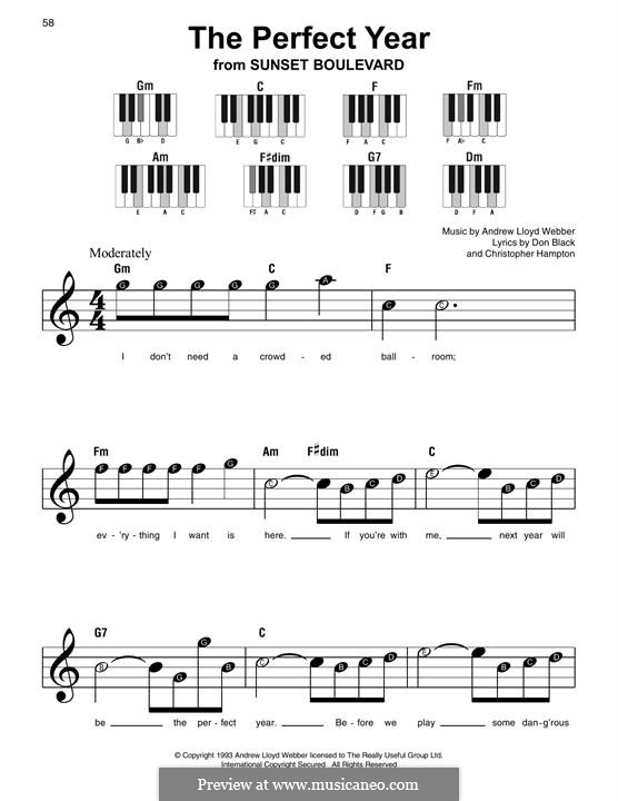 The Perfect Year: For easy piano with lyrics by Andrew Lloyd Webber