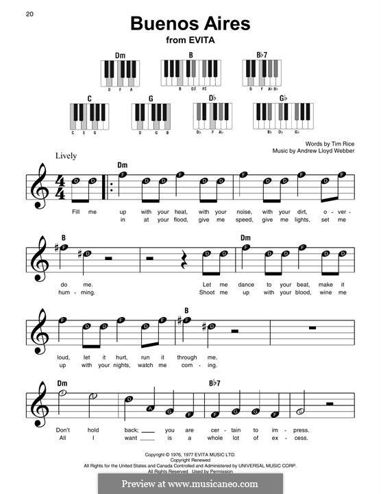 Buenos Aires: For easy piano with lyrics by Andrew Lloyd Webber
