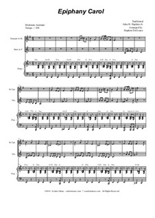 Epiphany Carol: Duet for Bb-trumpet and french horn by folklore, John H. Hopkins Jr.