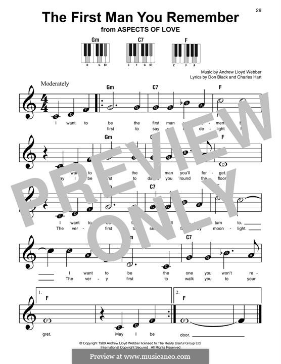 The First Man You Remember: For easy piano with lyrics by Andrew Lloyd Webber