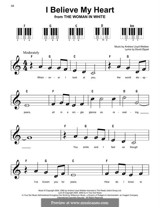 I Believe My Heart: For easy piano with lyrics by Andrew Lloyd Webber