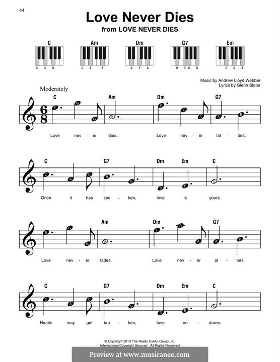 Love Never Dies: For easy piano with lyrics by Andrew Lloyd Webber