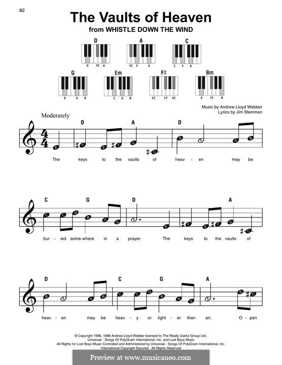 The Vaults of Heaven (from Whistle Down the Wind): For easy piano with lyrics by Andrew Lloyd Webber