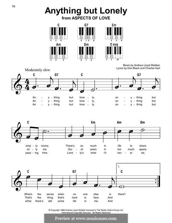 Anything but Lonely: For easy piano with lyrics by Andrew Lloyd Webber