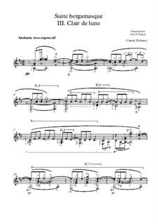 No.3 Clair de lune: For guitar by Claude Debussy