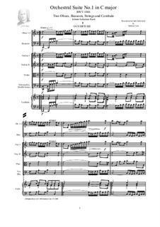 Orchestral Suite No.1 in C Major, BWV 1066: Score, parts by Johann Sebastian Bach
