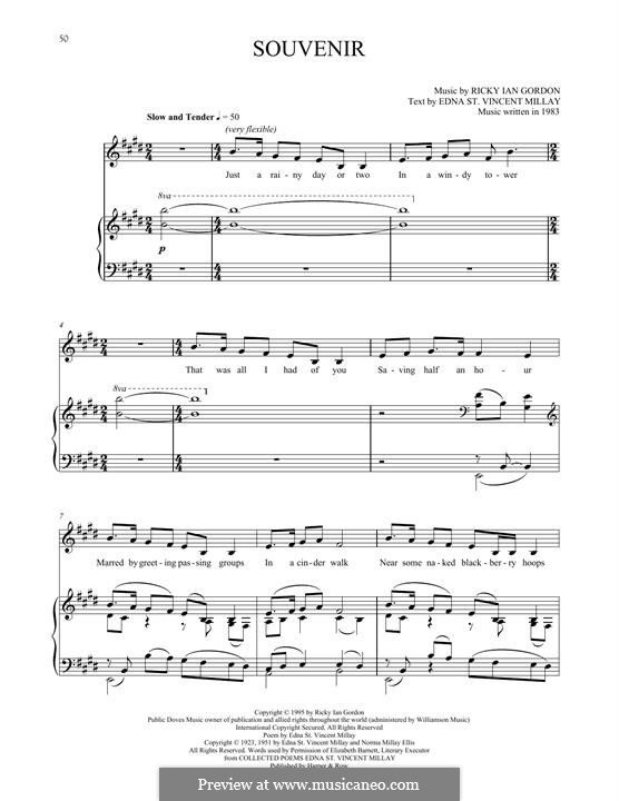 Souvenir: For voice and piano by Ricky Ian Gordon