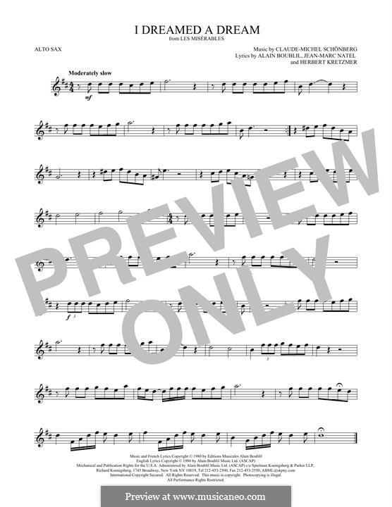 I Dreamed a Dream: For alto saxophone by Claude-Michel Schönberg
