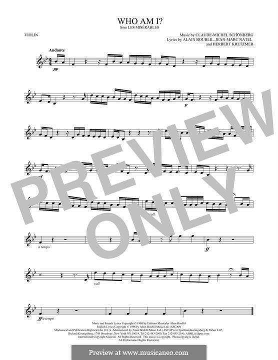 Who am I?: For violin by Claude-Michel Schönberg