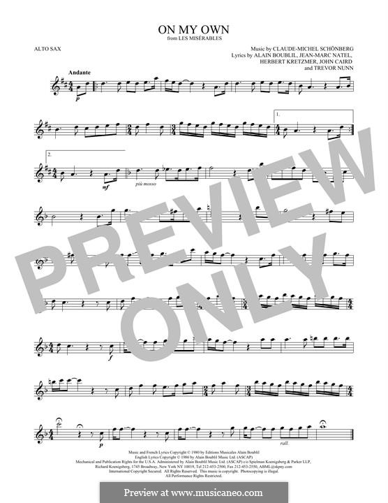 On My Own: For alto saxophone by Claude-Michel Schönberg