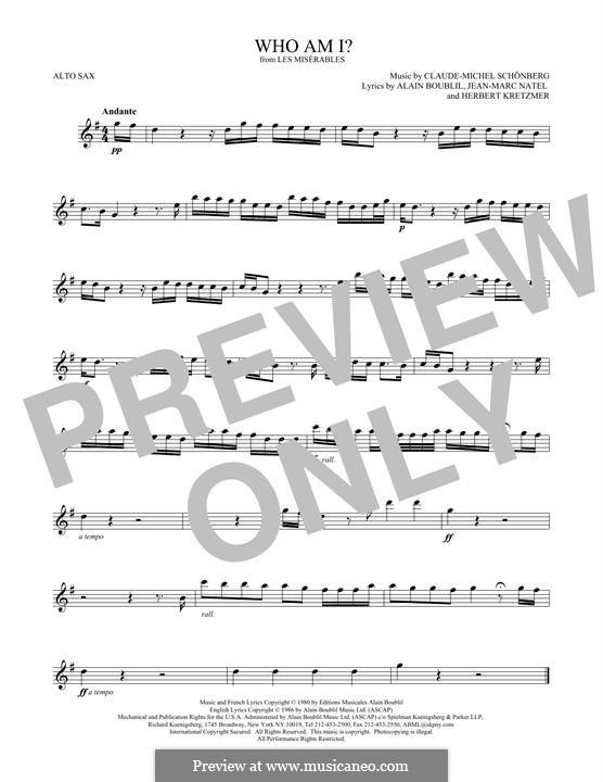 Who am I?: For alto saxophone by Claude-Michel Schönberg