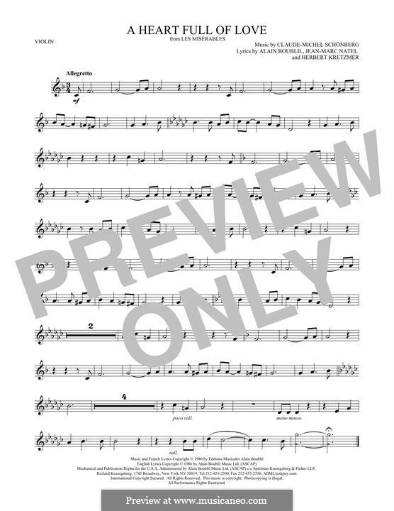 A Heart Full of Love: For violin by Claude-Michel Schönberg