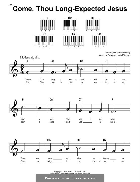 Come, Thou Long-Expected Jesus: For easy piano by Rowland Huw Prichard