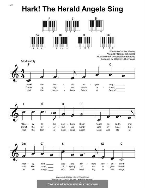 For piano: Easy version by Felix Mendelssohn-Bartholdy