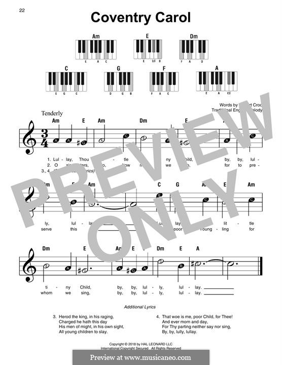 Coventry Carol: For easy piano by folklore