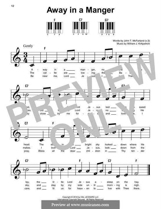 Away in a Manger: For easy piano by William (James) Kirkpatrick