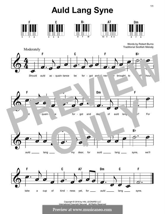 Auld Lang Syne, for Piano: Easy version by folklore