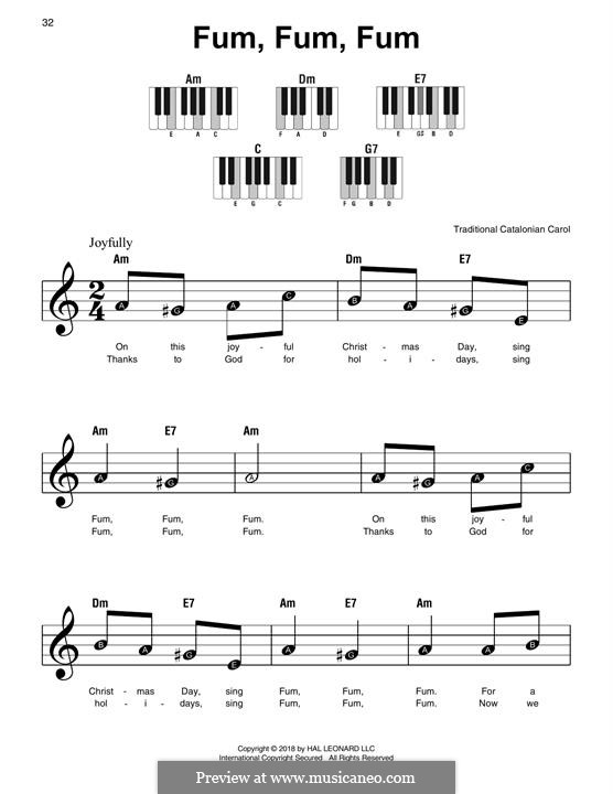 Fum, Fum, Fum: For easy piano by folklore