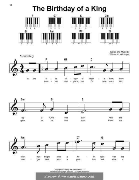 The Birthday of a King: For easy piano by William Harold Neidlinger