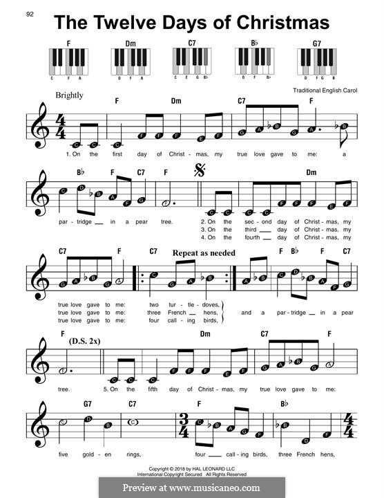 The Twelve Days of Christmas: For easy piano by folklore