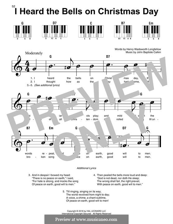 I Heard The Bells On Christmas Day Lyrics.For Easy Piano