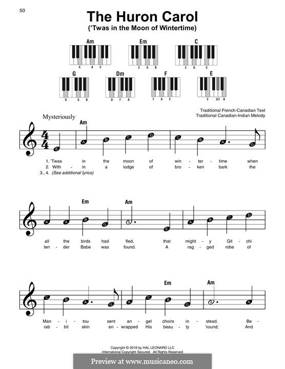 The Huron Carol: For easy piano by folklore