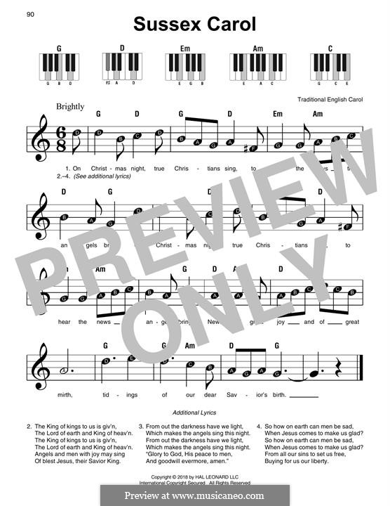 Sussex Carol: For easy piano by folklore