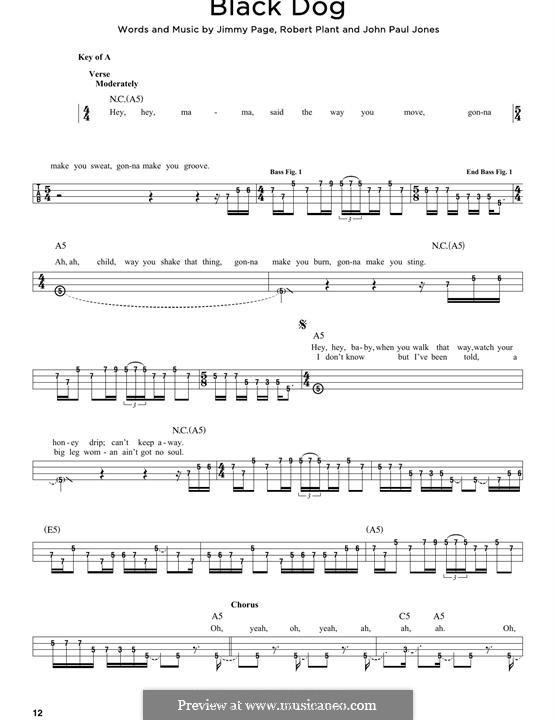 Black Dog (Led Zeppelin): For bass voice by John Paul Jones, Jimmy Page, Robert Plant