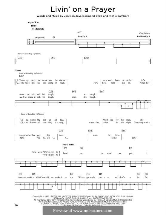 Livin' on a Prayer (Bon Jovi): For bass voice by Desmond Child, Jon Bon Jovi, Richie Sambora
