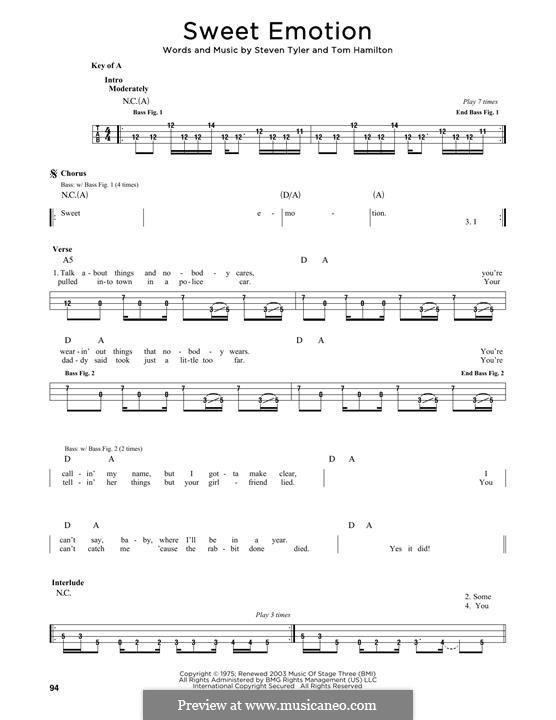 Sweet Emotion (Aerosmith): Melody line by Steven Tyler, Tom Hamilton