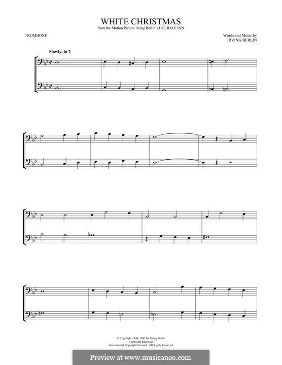 White Christmas: For trombone by Irving Berlin