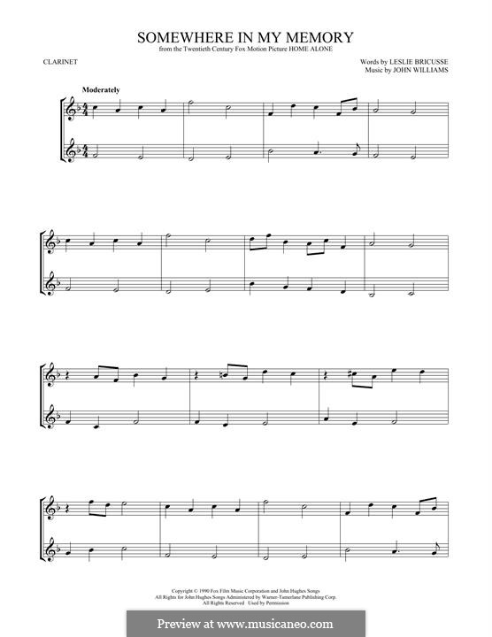 Somewhere in My Memory: For two clarinets by John Williams