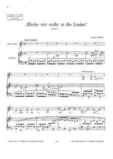 Rückert Lieder: Blicke mir Nicht in die Lieder, für Stimme und Klavier by Gustav Mahler