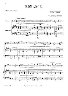 Romance for Violin and Piano: Score by Gabriel Prosper Marie