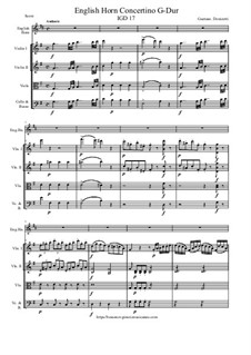 English Horn Concertino G-Dur, IGD 17: Version for enlish horn and string orchestra - score and parts by Gaetano Donizetti
