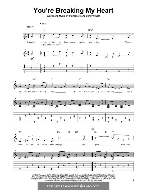 You're Breaking My Heart: For guitar with tab by Pat Genaro, Sunny Skylar