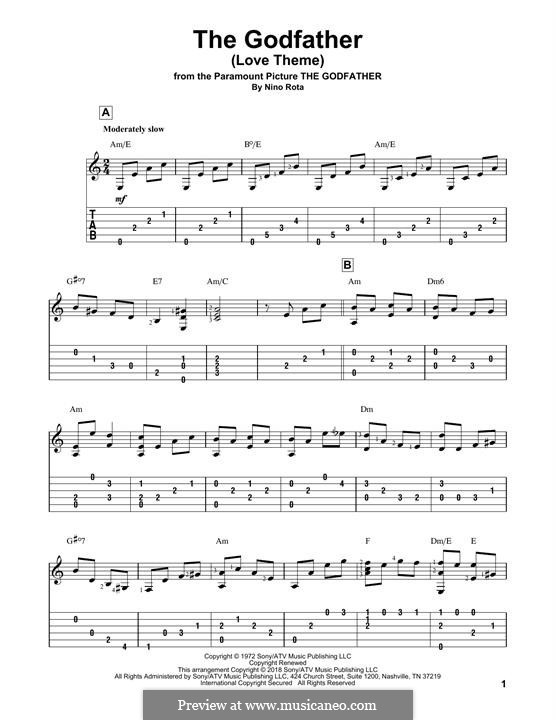 The Godfather (Love Theme): For guitar with tab by Nino Rota