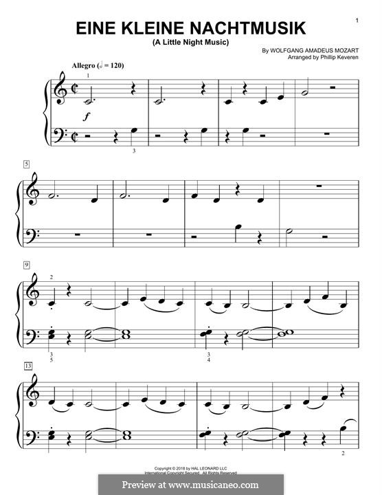 Allegro, version for piano: Easy version by Wolfgang Amadeus Mozart