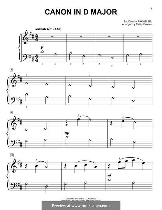 Canon in D Major (Printable): For easy piano by Johann Pachelbel