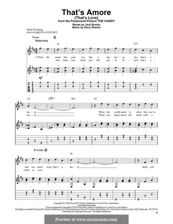 That's Amore (That's Love): For guitar with tab by Harry Warren