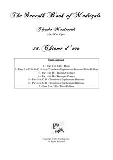 Book 7 (Concerto), SV 117–145: No.28 Chiome d'oro – Brass Septet by Claudio Monteverdi