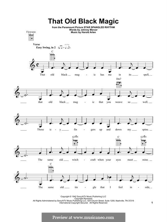 That Old Black Magic (from Star Spangled Rhythm): For ukulele by Harold Arlen