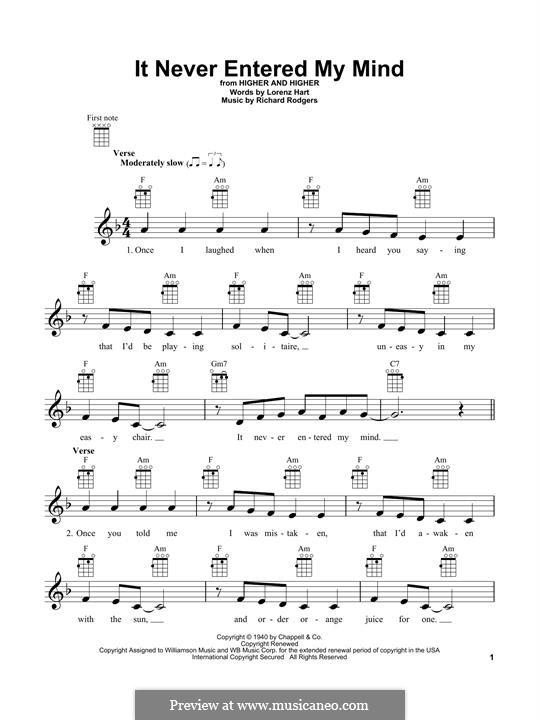 It Never Entered My Mind: For ukulele by Richard Rodgers