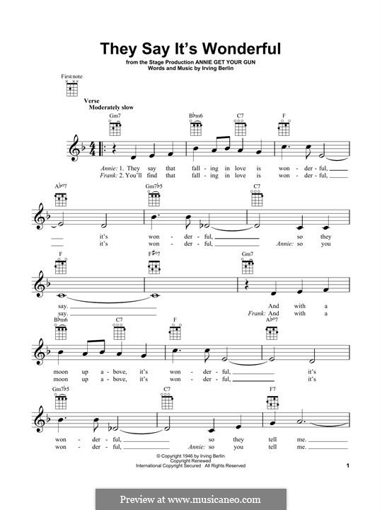 They Say It's Wonderful: For ukulele by Irving Berlin