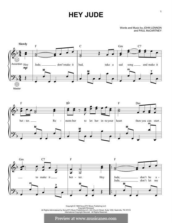 Hey Jude (The Beatles): For accordion by John Lennon, Paul McCartney