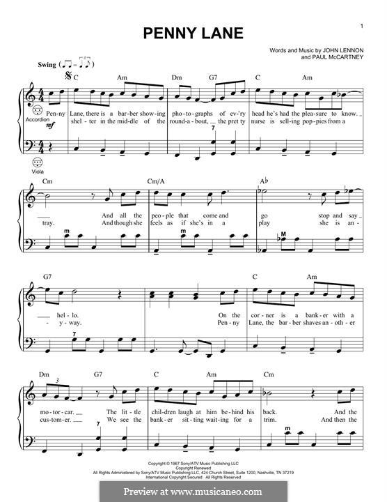 Penny Lane (The Beatles): For accordion by John Lennon, Paul McCartney