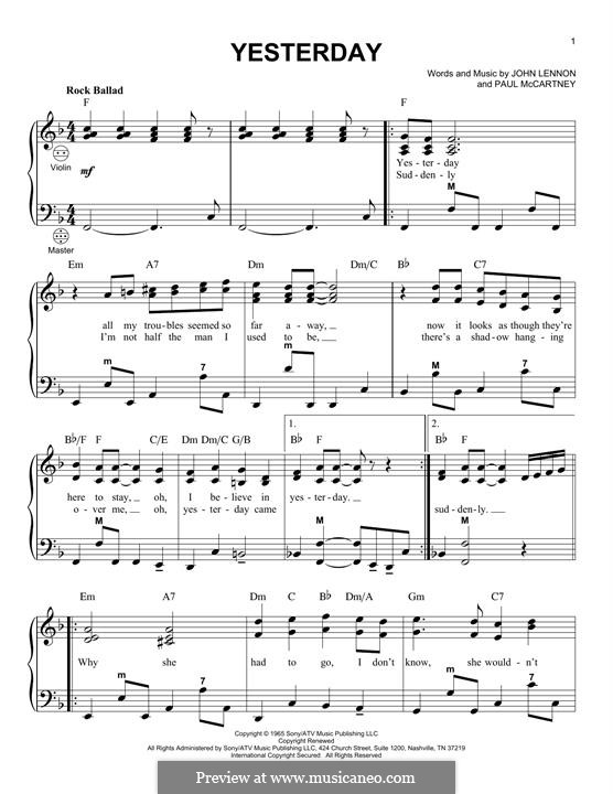 Yesterday (The Beatles): For accordion by John Lennon, Paul McCartney