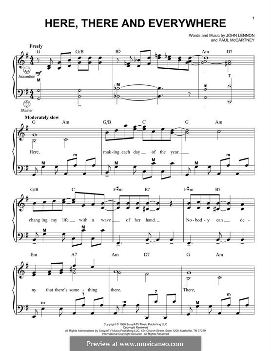 Here, There and Everywhere (The Beatles): For accordion by John Lennon, Paul McCartney